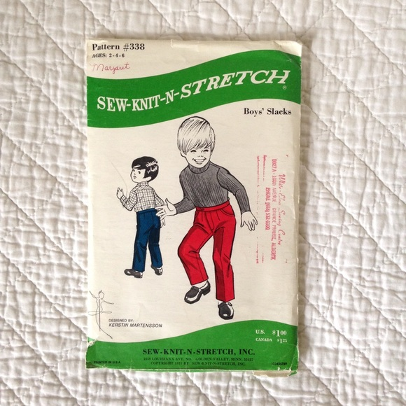 Vintage Boys Pants Sewing Pattern (Age 2-6)